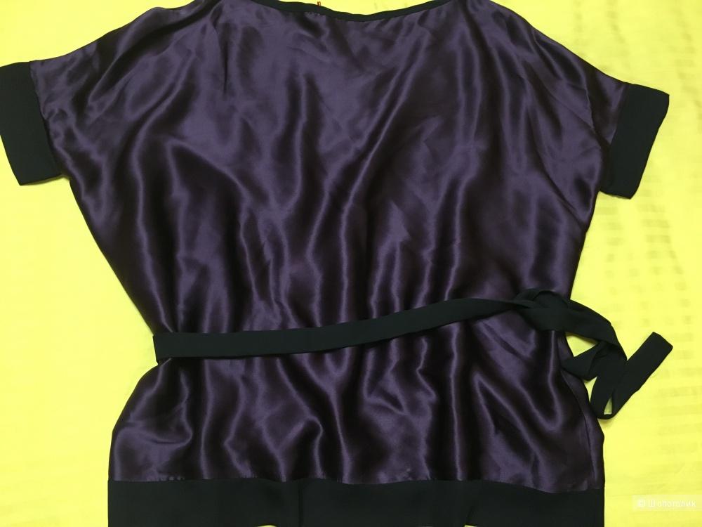 Шелковая блузка LAVINIATURRA, 46 (Российский размер) дизайнер:44 (IT). Темно-фиолетовый