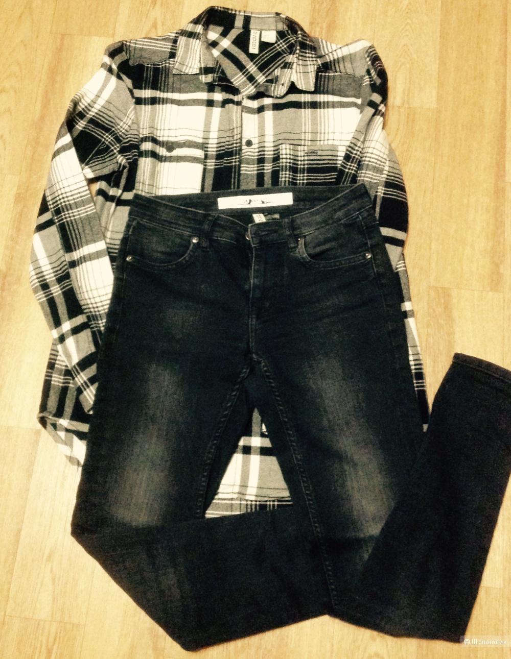 Комплект, джинсы(скинни)+рубашка, H&M, разм. XS