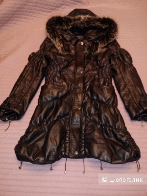 Кожаное пальто размер L-XL