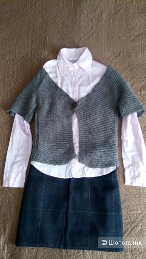 Сет из трех вещей, рубашка, жилет, юбка, размер S