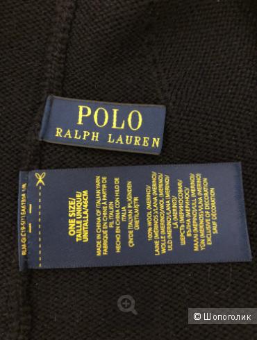 Темно-синяя шапка-бини из мериносовой шерсти Polo Ralph Lauren
