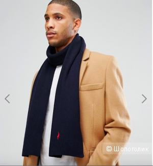 Темно-синий шарф в рубчик из мериносовой шерсти Polo Ralph Lauren