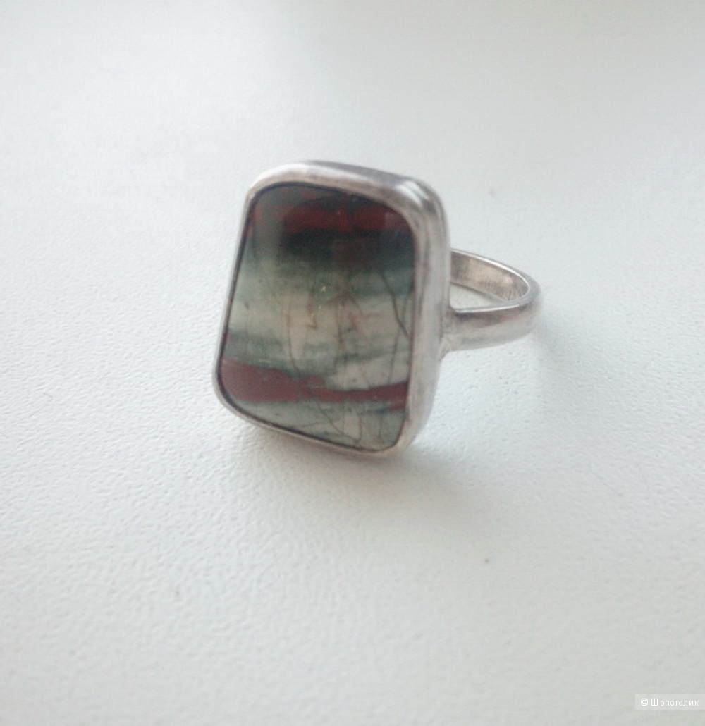 Кольцо серебро яшма размер 17-17,5