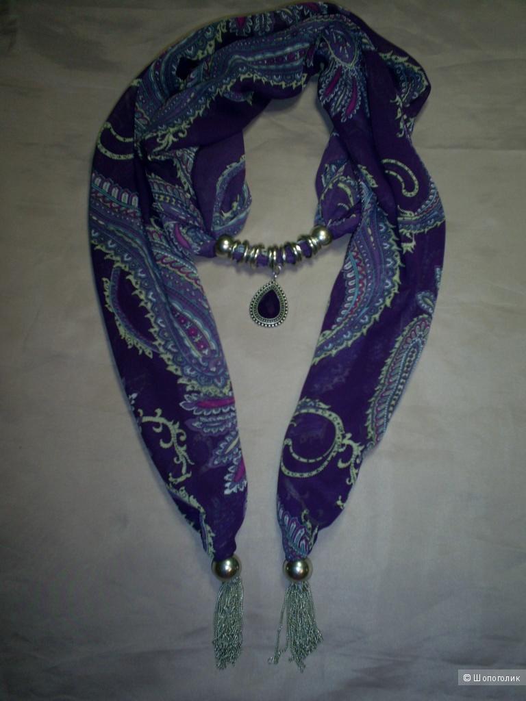 Шифоновый шарфик с украшениями.