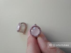 Серьги из серебра 925 с розовым кварцем