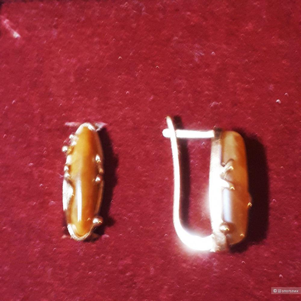 """Cерьги из  серебра 925 пробы с симбирцитом от компании """"Балтийское золото"""""""""""