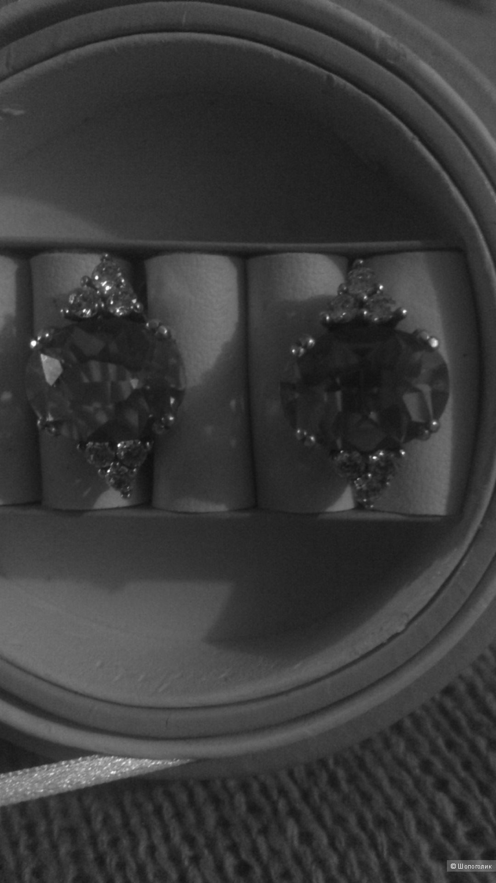 Серьги, дымчатый топаз.серебро.