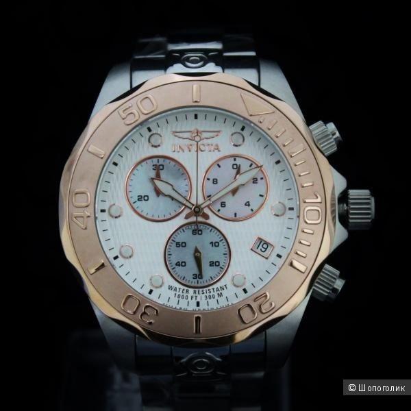 Швейцарские наручные мужские часы Invicta Men Pro Grand Diver Chronograph Rose Tone 300M W/R SS