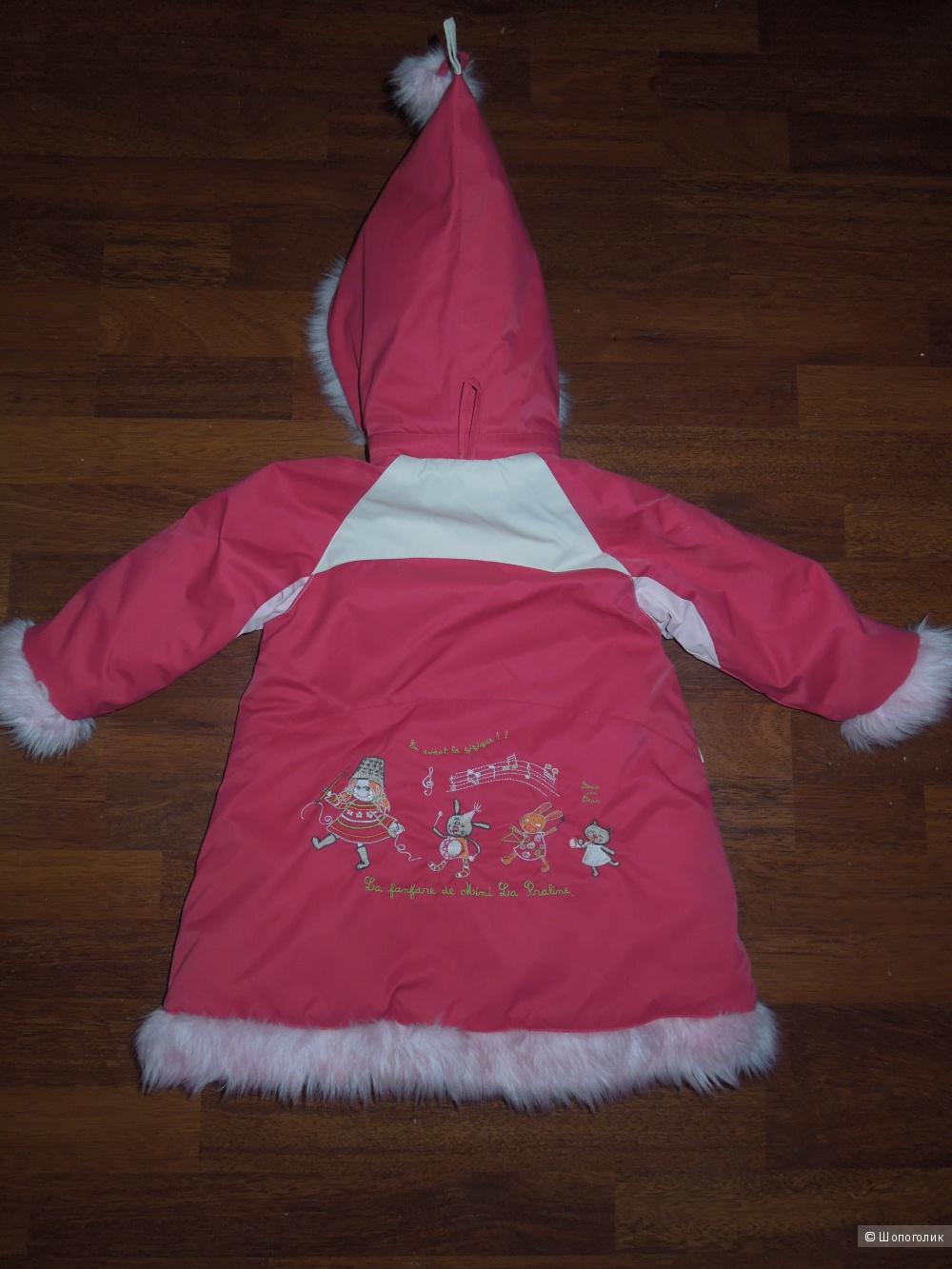 Зимнее пальто для девочки Deux par deux 2-3 года