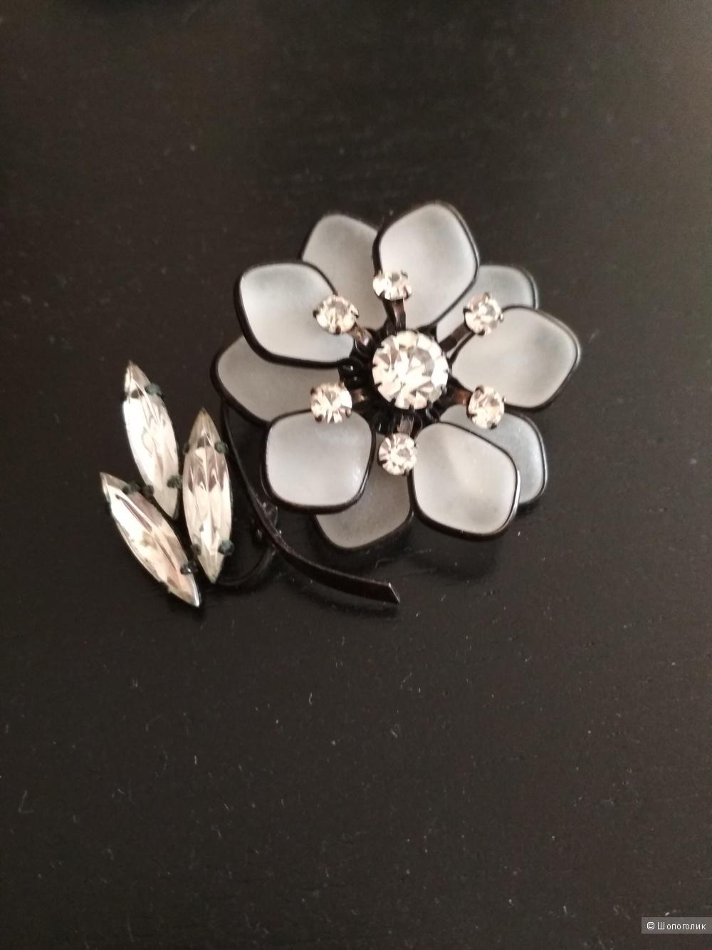 Сет: брошь + серьги, горный хрусталь, серебро 925, США.