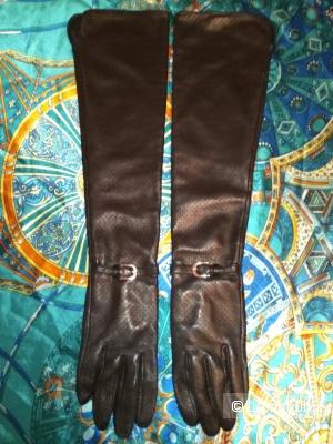 Кожаные  перчатки до локтя,  7,5
