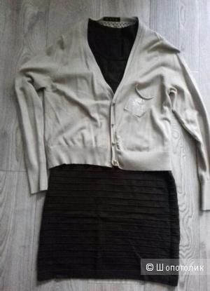 Трикотажный комплект - платье с кардиганом, размер 44-46