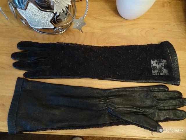 Длинные перчатки, кожа, размер 7