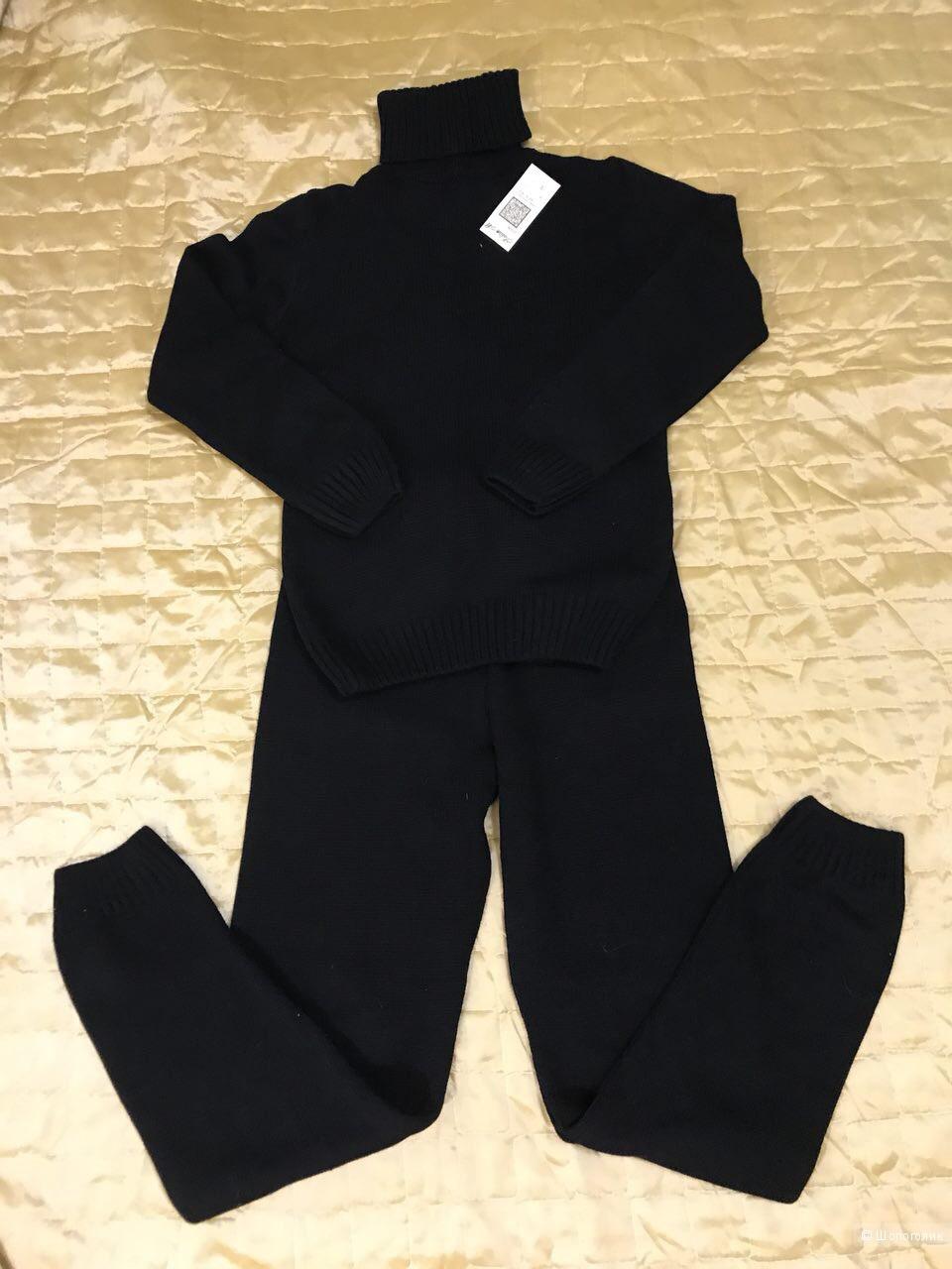 Вязаный черный костюм с горлом Россия, one size