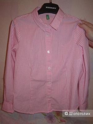 Розовая рубашка детская Benetton, 6-7 лет, рост 120