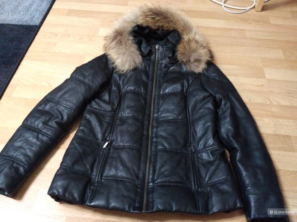 "Зимняя кожаная куртка, 44 размер, фирма ""Алеф"""