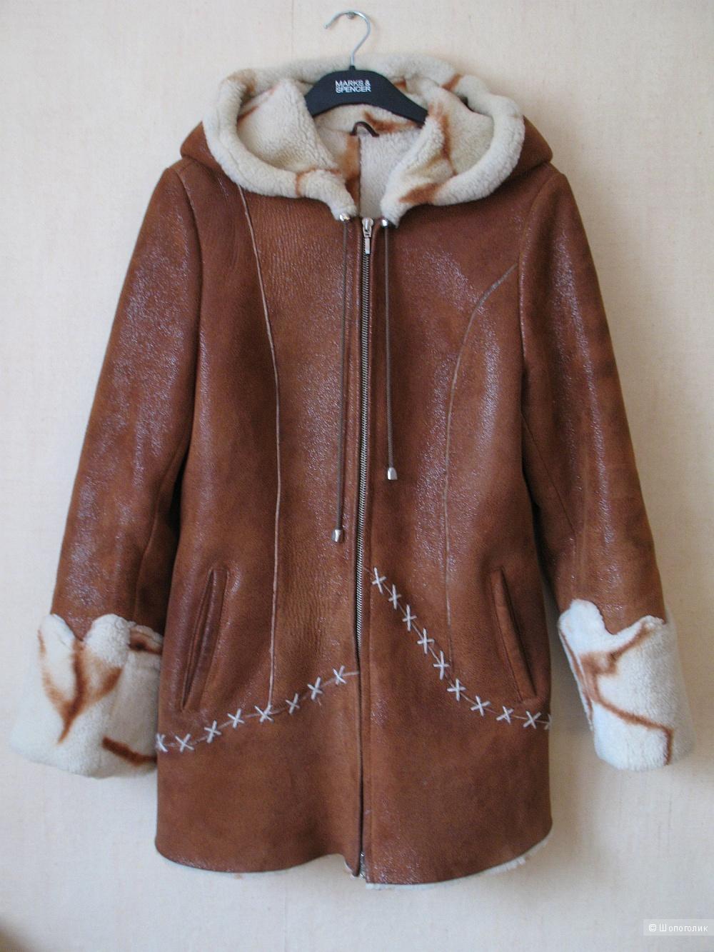Дубленка коричневая с белым мехом, размер M