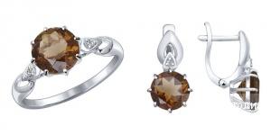 Набор из серебра с раухтопазом и фианитами, кольцо 16,5
