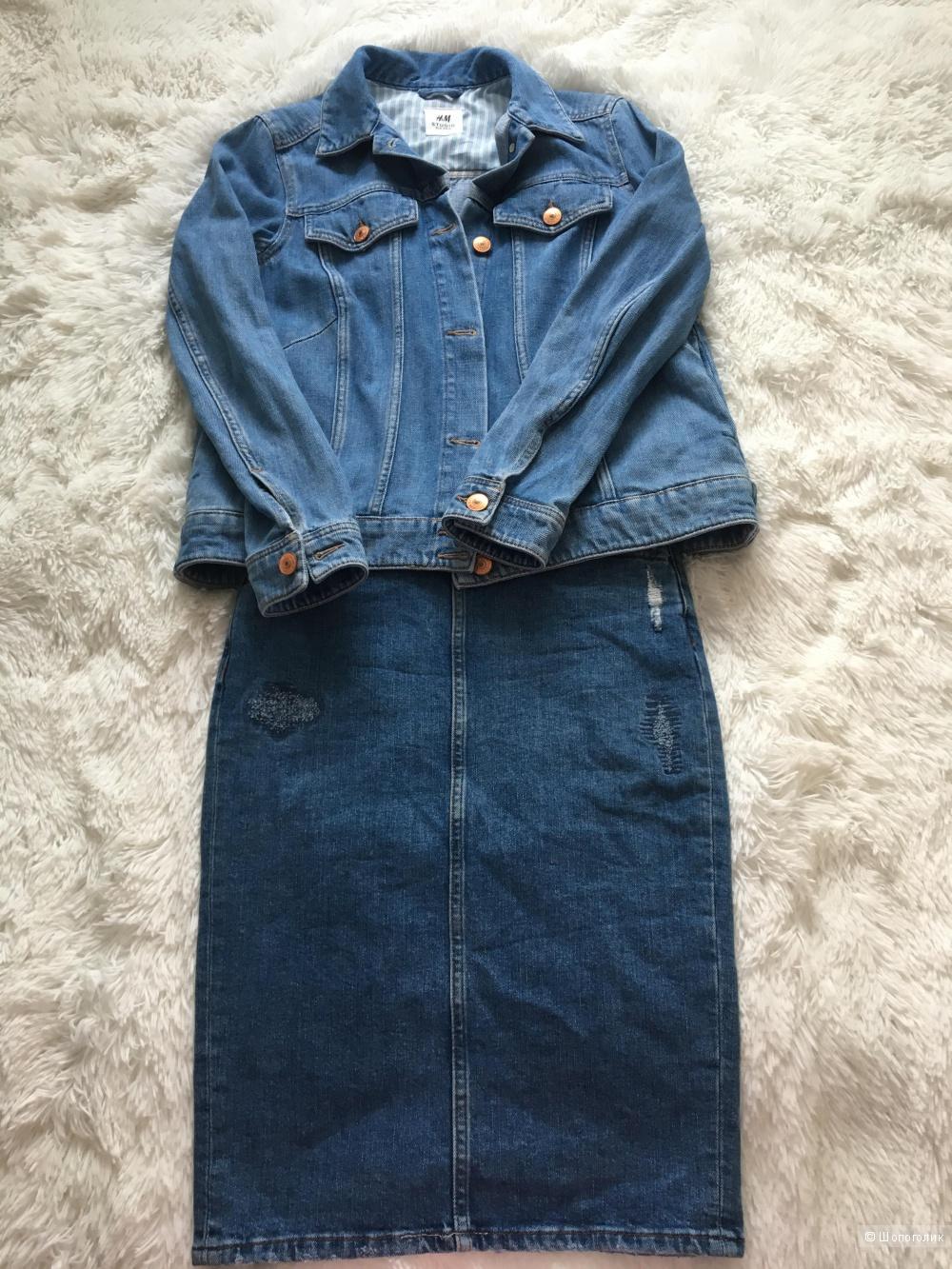 Комплект джинсовка H&M, размер S+Юбка Denim co, размер S