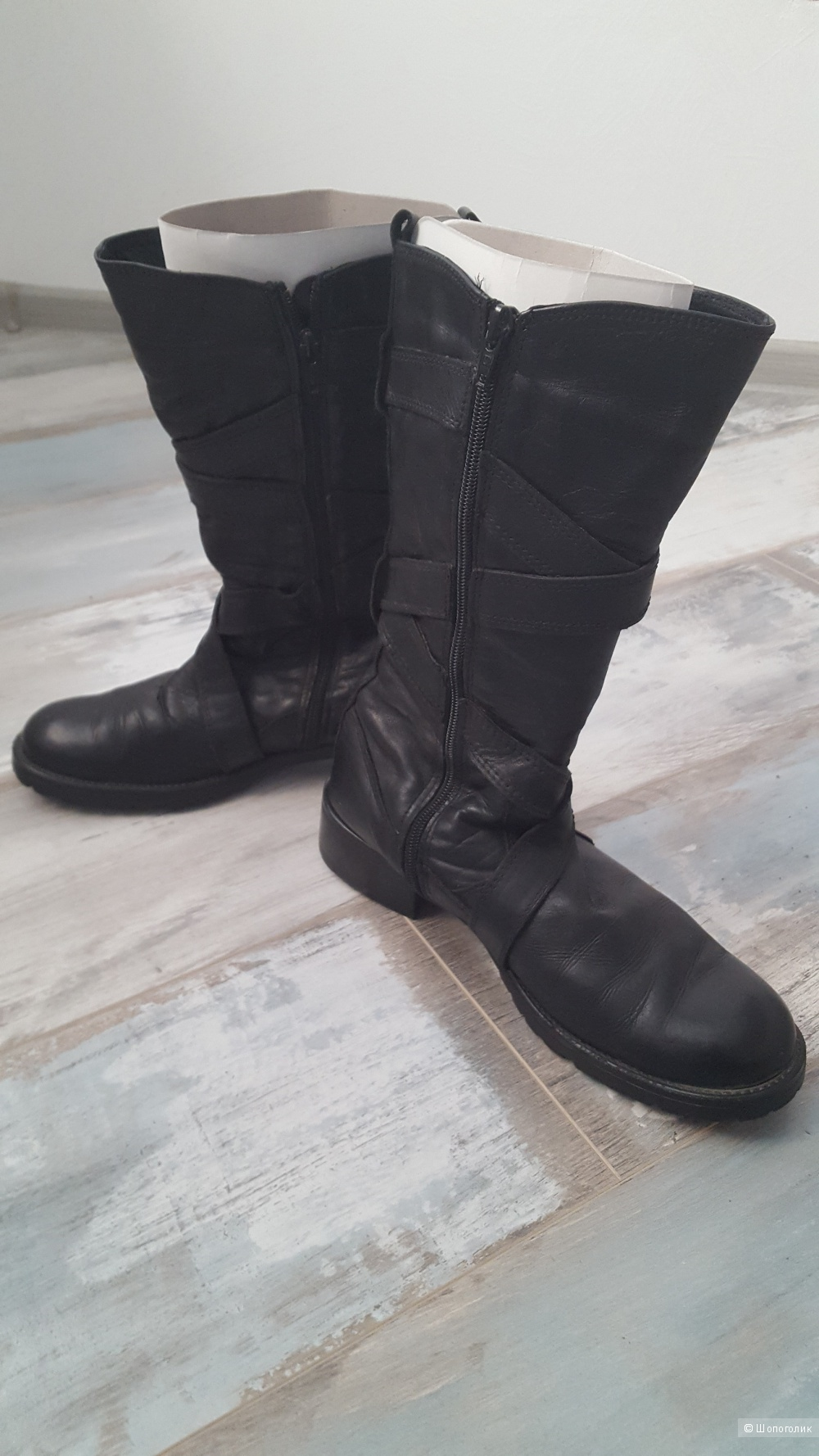 Демисезонные кожаные сапоги Tamaris, 39 р-р