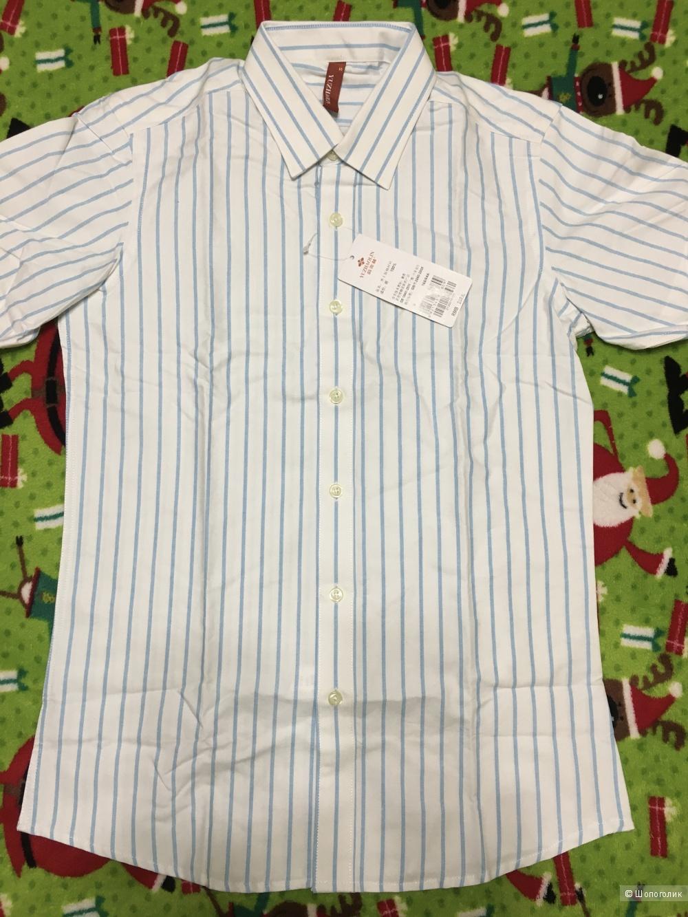Детская рубашка с коротким рукавом, размер S, на 13-14 лет.