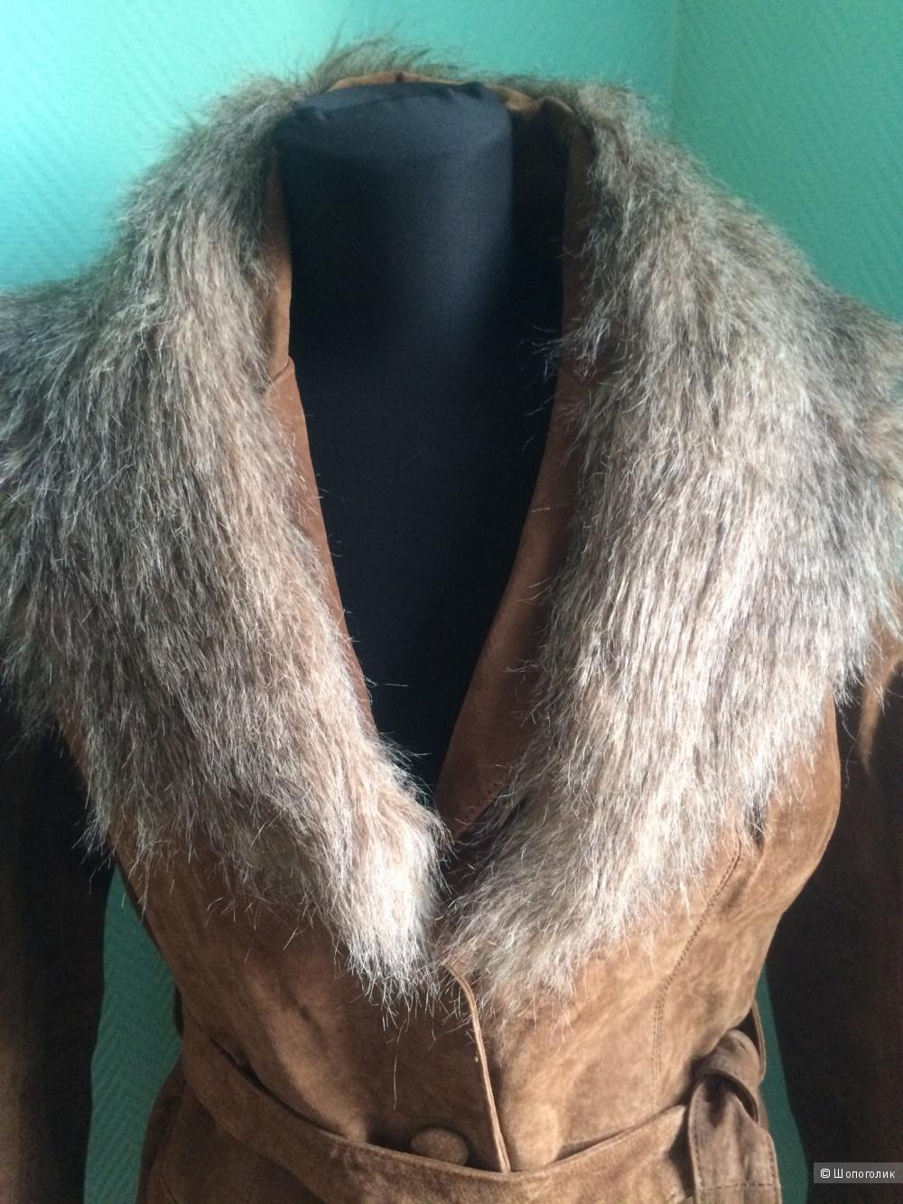 Замшевое пальто PEPE JEANS LONDON, размер L /46-48