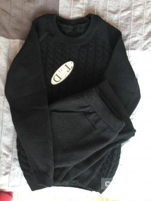 Вязанный костюм из шерсти, размер 40-44,черный
