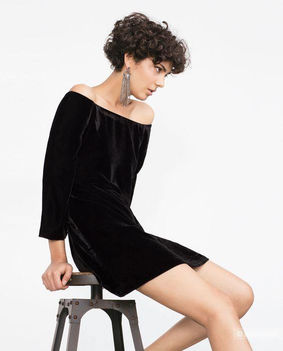 Бархатное платье Zara Basic (M)