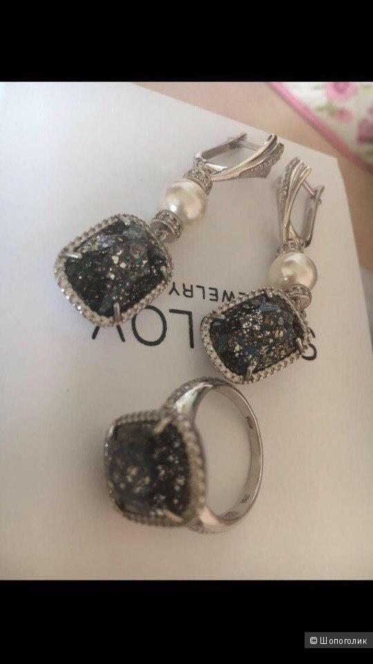 Набор серебряный (серьги+кольцо) Соколов универсальный