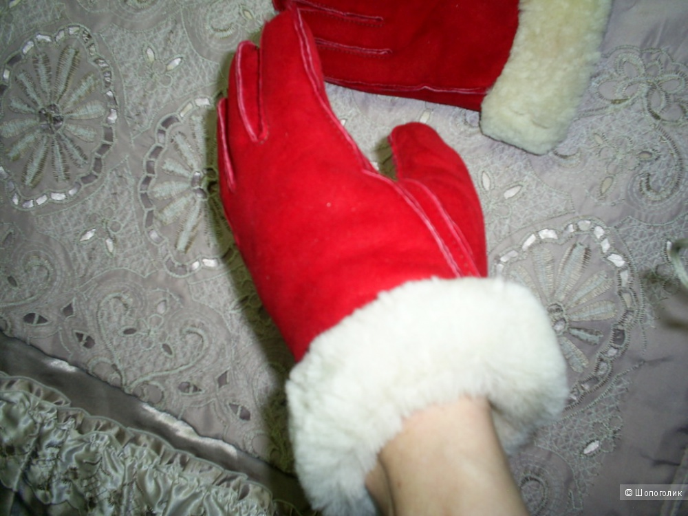 Замшевые перчатки на овчине р 8.