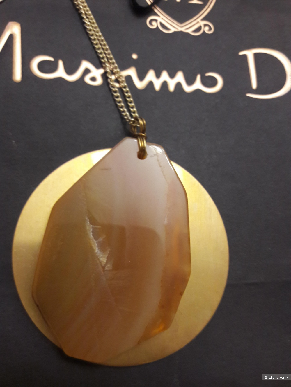 Massimo Dutti: ожерелье с камнем на цепочке.
