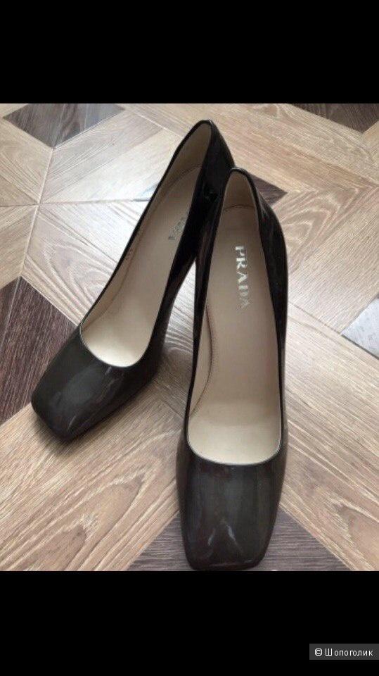 Туфли лак+кожа Prada 39,5-40