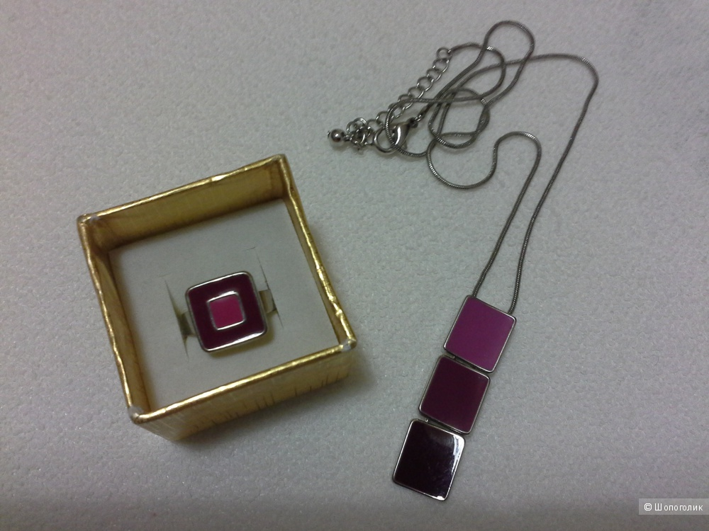 Кольцо, цепочка  и кулон.