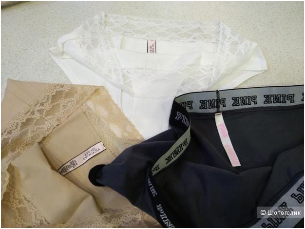 Хлопковые трусики Victoria`s Secret 2шт маркировка М и 1шт PINK (комплект из 3х шт)