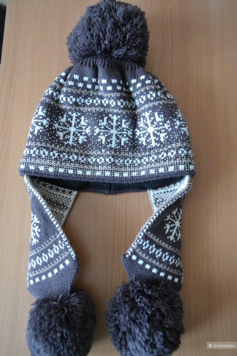 Теплая шапка с помпоном, one size