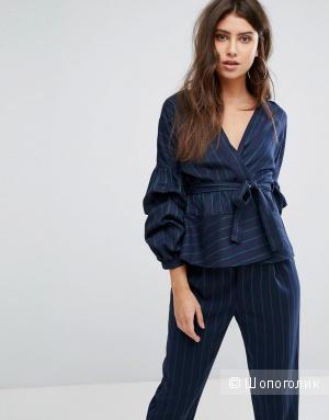 Пиджак в тонкую полоску с пышными рукавами PrettyLittleThing, 8 UK