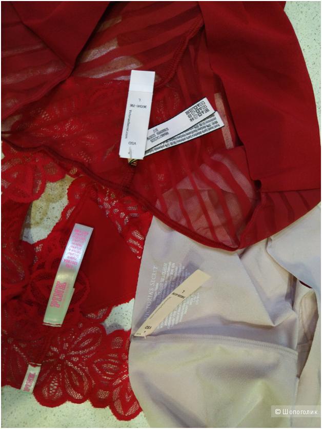 Бесшовные трусики Victoria`s Secret 2шт и 1шт PINK (комплект из 3х шт)  маркировка L
