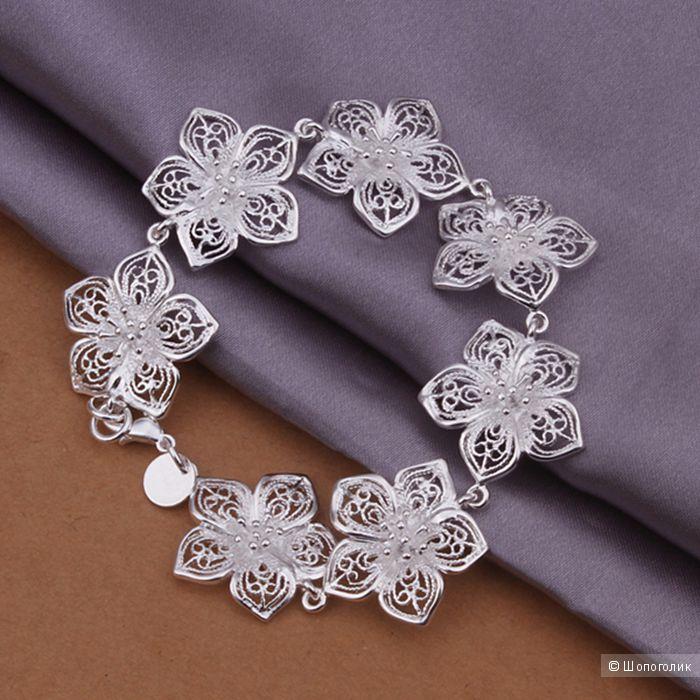 """Браслет в стиле Tiffany & Co """"Цветы"""", ювелирный сплав с покрытием серебра 925 пробы, 20 см"""