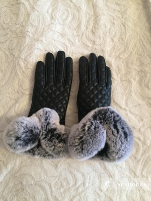 Перчатки кожаные с мехом кролика, размер S
