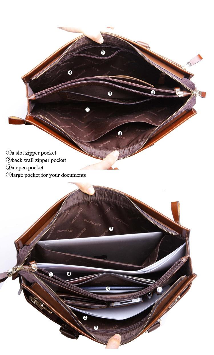 Портфель мужской Teemzone, натуральная кожа, цвет черный
