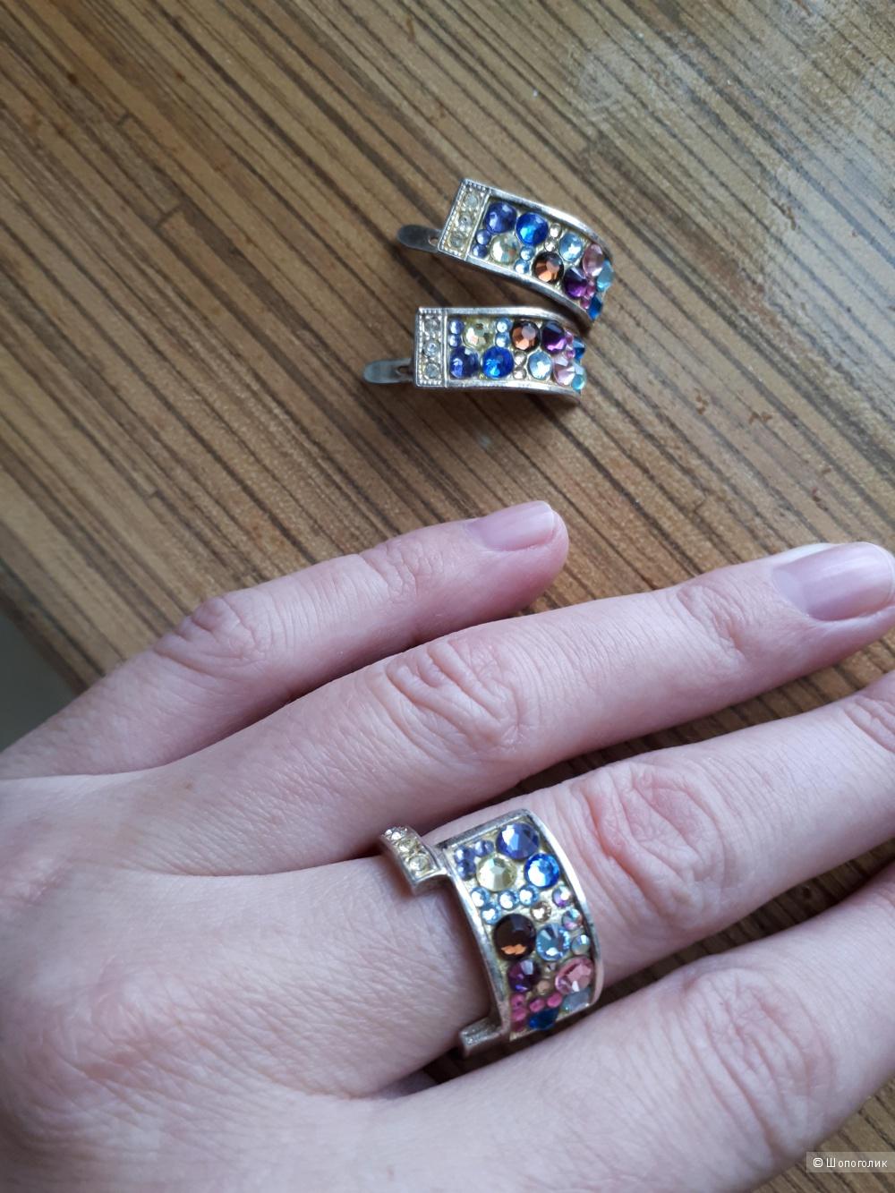Комплект бижутерии-кольцо 19 р.и серьги