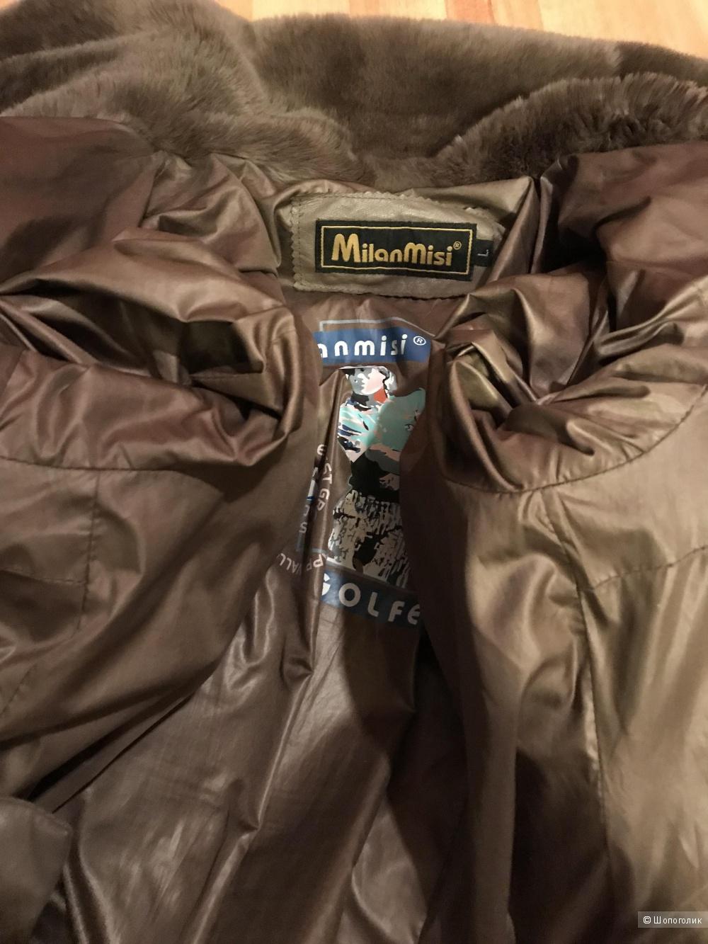 Кожаный пуховик Milanmisi, на 42-44 размер