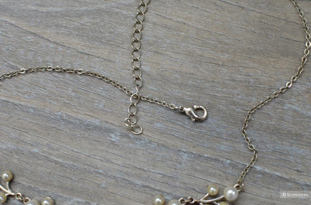 Набор из натурального жемчуга: колье (50 см) серьги 2,5 см