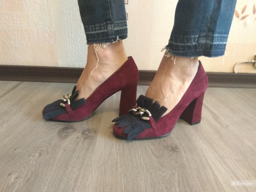 Туфли ( мокасины на каблуке)PIERLUIGIBALEANI,35-35,5р