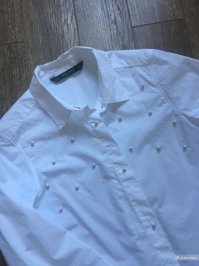 Рубашка с жемчугом ZARA XS