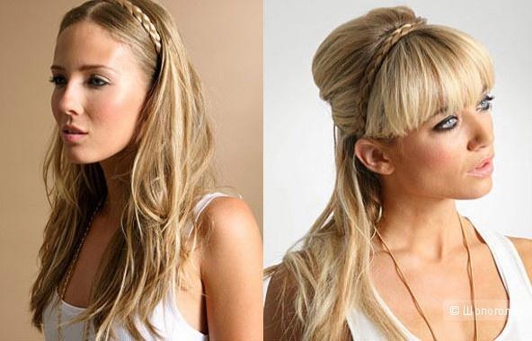 Накладная коса для блондинок, повязка, 8 мм