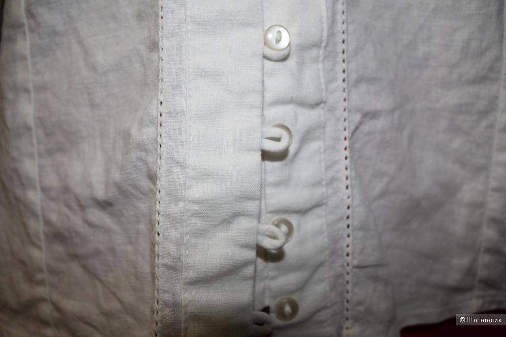 Белая льняная блуза, размер 46-48-50