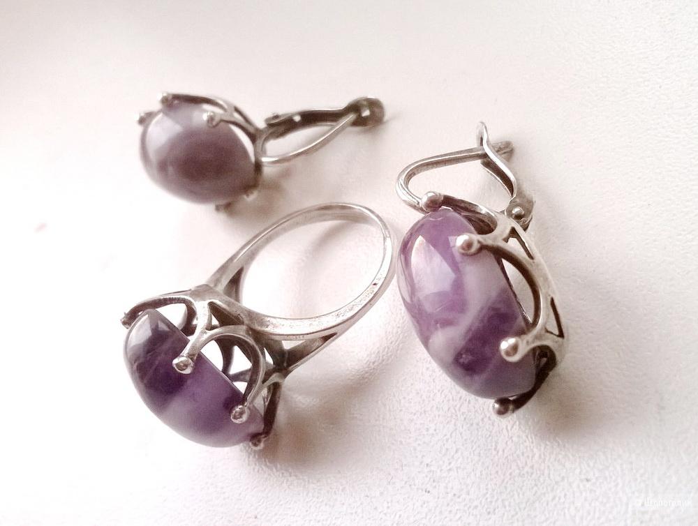 Комплект серьги и кольцо с аметистом