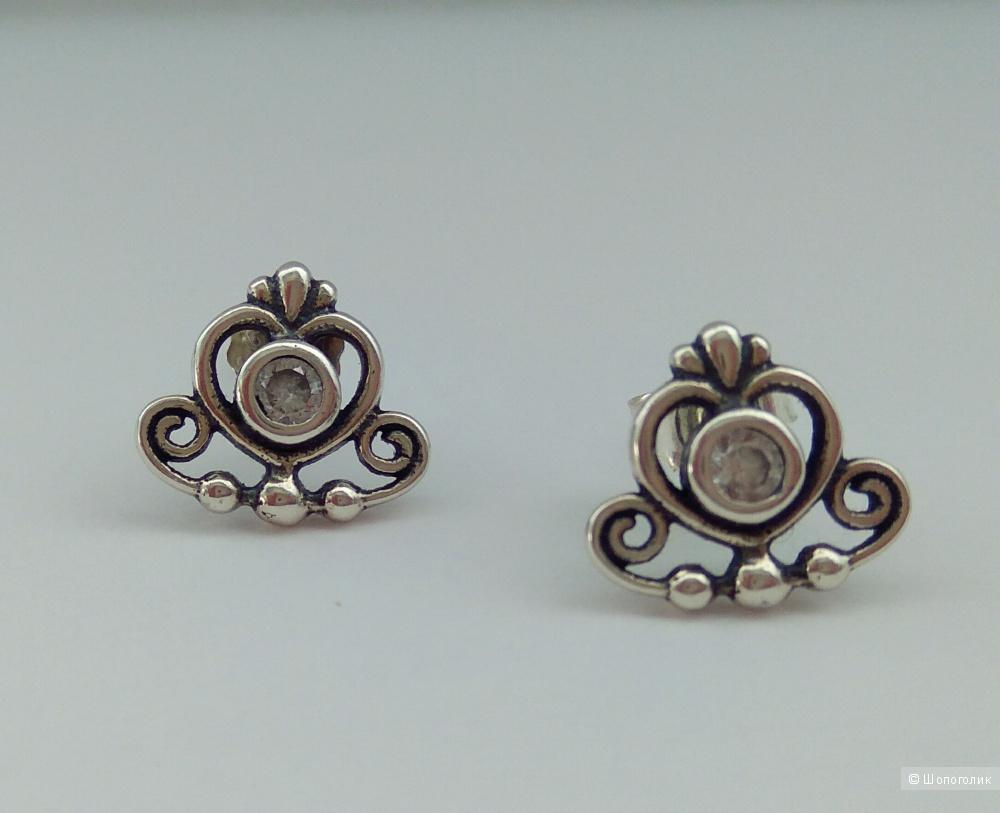 Пуссеты, Pandora, серебро 925