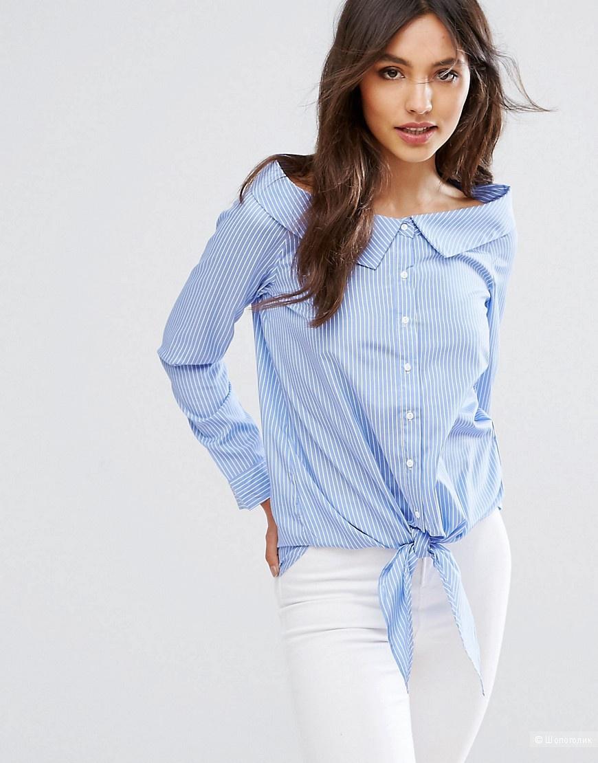 """Рубашка со спущенными плечами и завязкой """"QED London"""" 50 размер RU"""